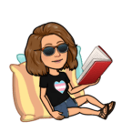 bitmoji of me propped up by pillows, reading a book.